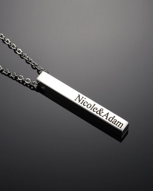 An image of Personalised Silver Engraved Rectangle Pendant made by Nayab Jewelry which is made of Pure Sterling Silver.