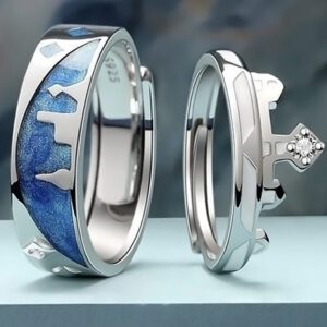 An image of Nayab King-Queen Silver Ring also known as couples ring that is designed by Nayab Jewelry which is made of Pure Sterling Silver.